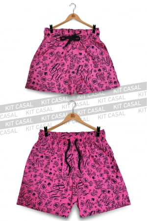 Swim Short Kit Casal BL Pink